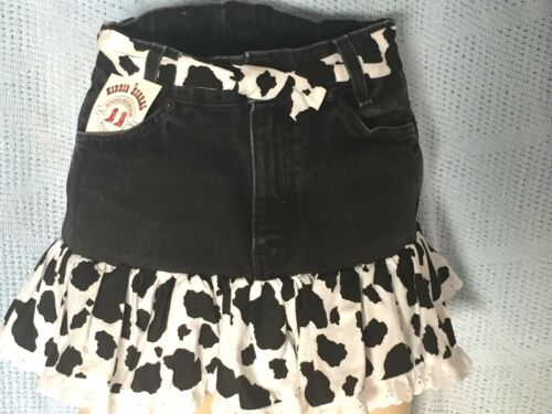 Girl/'s Western 2 Piece Denim Outfit Cow Black Print Cowboy Boot size 3-12