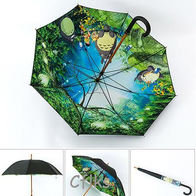 Rain Umbrella windproof Parasol Anti UV Hot Cartoon Totoro Print Long Handl