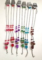 18 Colorful Beaded Silver Tone Necklace And Earring Set Fashion Jewelry