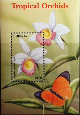 Motive Liberia 2000 Block 285 Orchideen Orchids Blumen Flowers Plants Pflanzen Mnh SorgfäLtige FäRbeprozesse