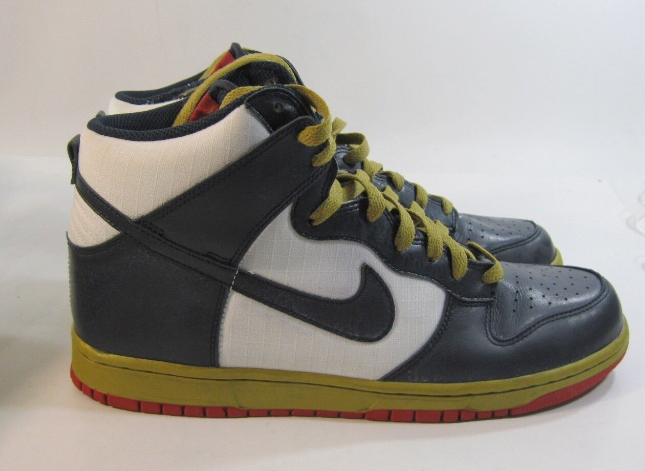 Nike Dunk Haute Homme Chaussures Blanc Dark Obsidian-met or 344648 141 Taille 10.5