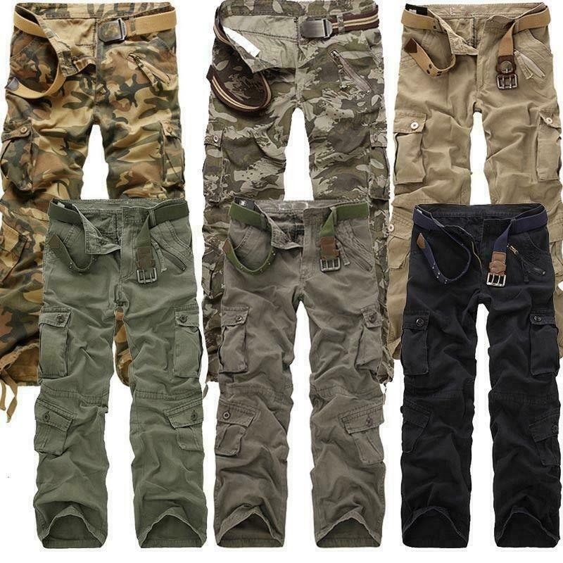 Mens Long Outdoor Camouflage Military Army Cargo Casual Pants Straight Trousers