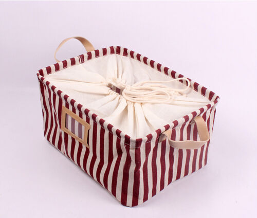 Collapsible Linen Storage Bucket Laundry Basket box w Totes vertical Red Stripe