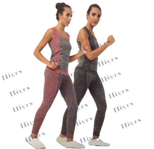 Ladies Yoga Fitness Seamless Vest+Pants Leggings Set Gym Workout Sport Wear
