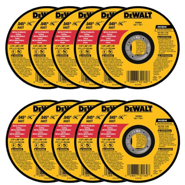 DEWALT DW8062H 4-1//2 X .045 X 5//8-11 HP Type 1 Cutting Wheel