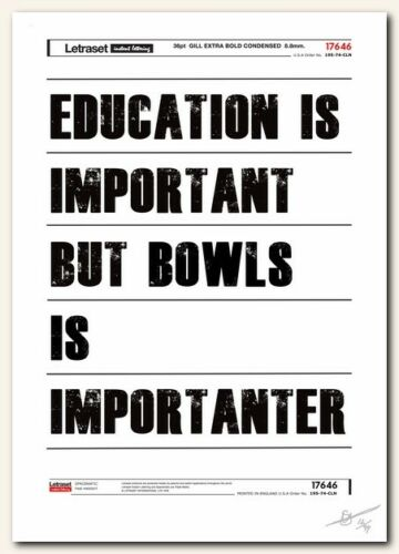cool gift ❤ Bowls ❤  typography poster art signed limited edition print