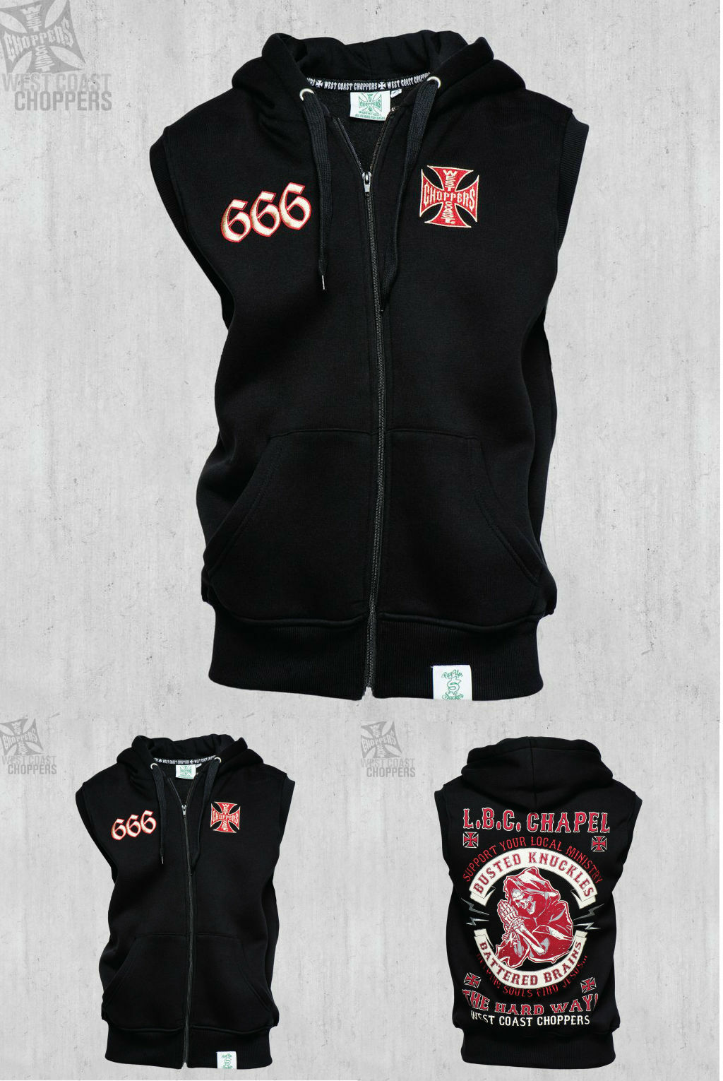 WEST COAST CHOPPERS CHAPEL 666 SLEEVELESS ZIP HOODY BRAND NEW    | Ab dem neuesten Modell