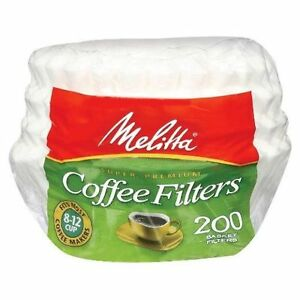 Details About Melitta 8 12 Cup Basket Coffee Filters Paper White 200 Count 24 Pack