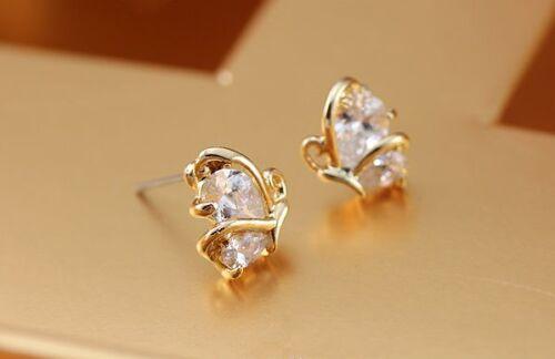 Rose Gold GF SWAROVSKI Crystal Butterfly Stud Earrings VINTAGE LOOK 18K Gold