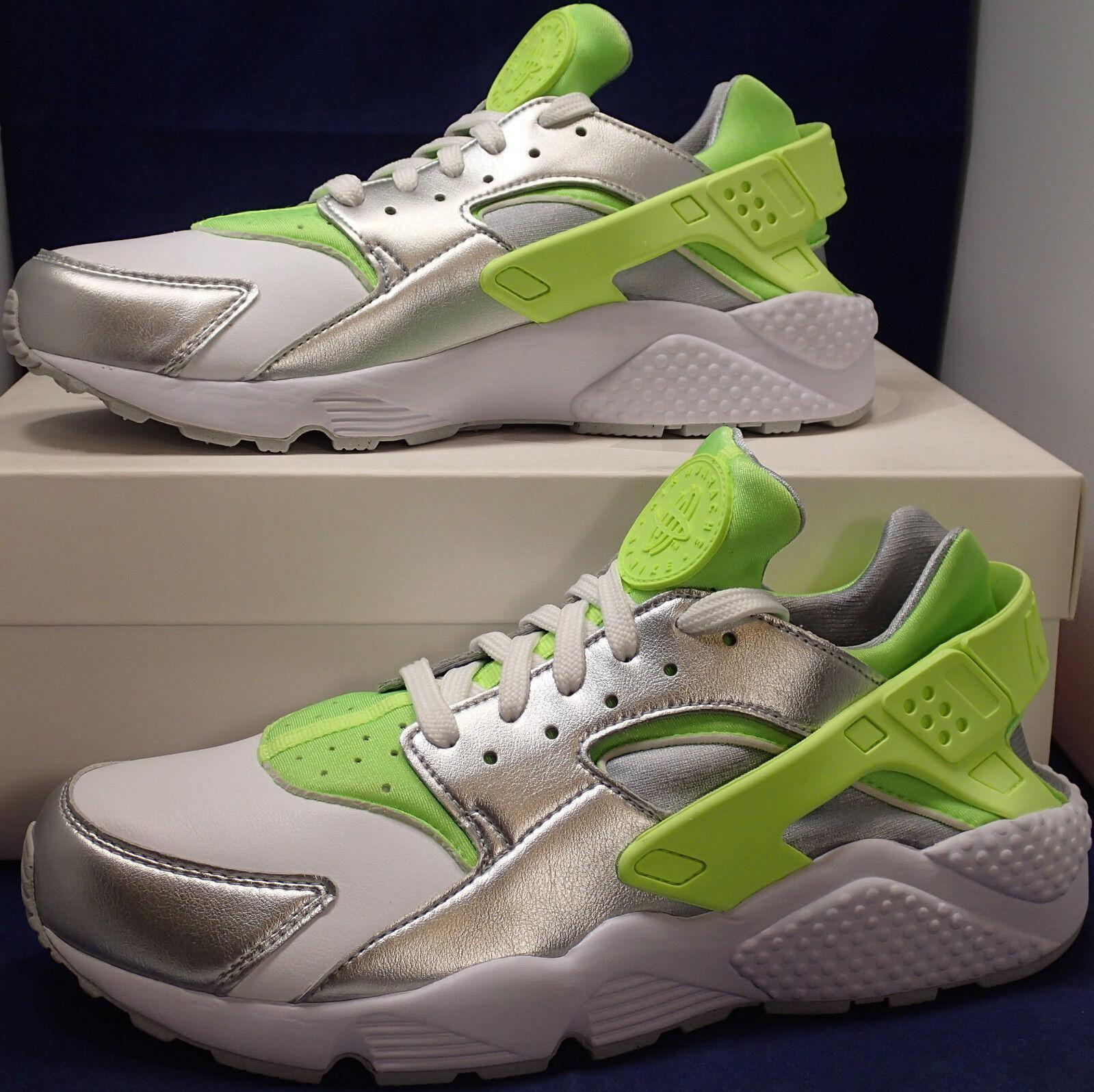 Nike Air Huarache Essential iD Silver Lime Green White SZ 9.5 ( 871140-993 )