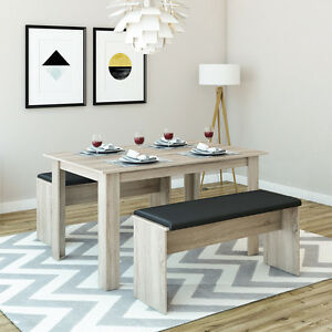 VICCO-Tischgruppe-Eiche-Sonoma-Sitzgruppe-Essgruppe-Holztisch-Esstisch-Tisch