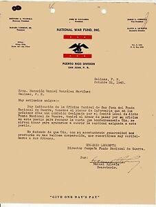 VINTAGE LETTER / NATIONAL WAR FUND / PUERTO RICO DIVISION / SAN JUAN PR 1945
