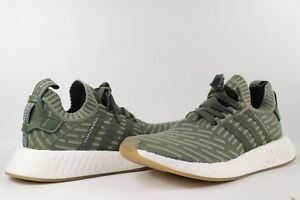 adidas NMD R2 Primeknit Olive Green White Pink Gum Sole Size 8.5 ... 1d32db2389