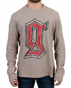 NEW-300-GALLIANO-Sweater-Gray-Motive-Print-Long-Sleeve-Crew-neck-T-shirt-s-L