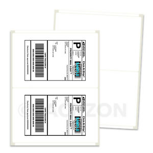 300 Shipping Labels 8.5x5.5 Rounded Corner Self Adhesive 2 Per Sheet PACKZON® 600231199315