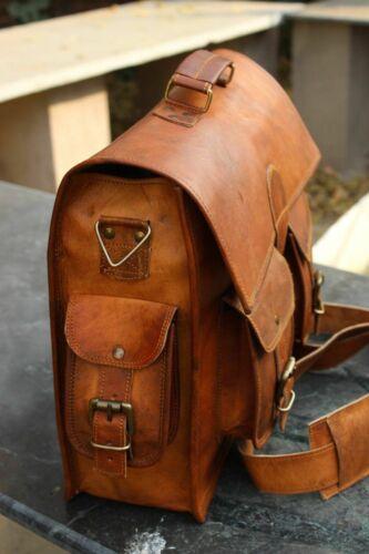Men's Genuine Leather Messenger Bag Vintage Brown Shoulder Laptop Bag Briefcase