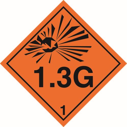 Health and Safety Hazard Sticker Explosive 1.3G Sticker Orange