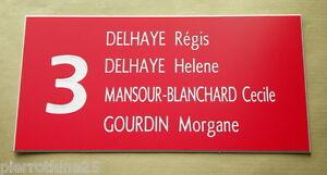 plaque gravée boite aux lettres porte personnalisée 4 lignes  + N°  ft 75x150 mm
