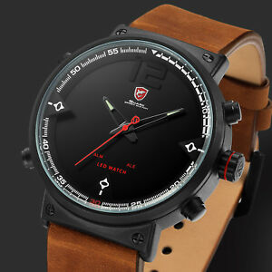 Shark-Mens-Crazy-Horse-Leather-Strap-Stainless-Steel-LED-Quartz-Wrist-Watch