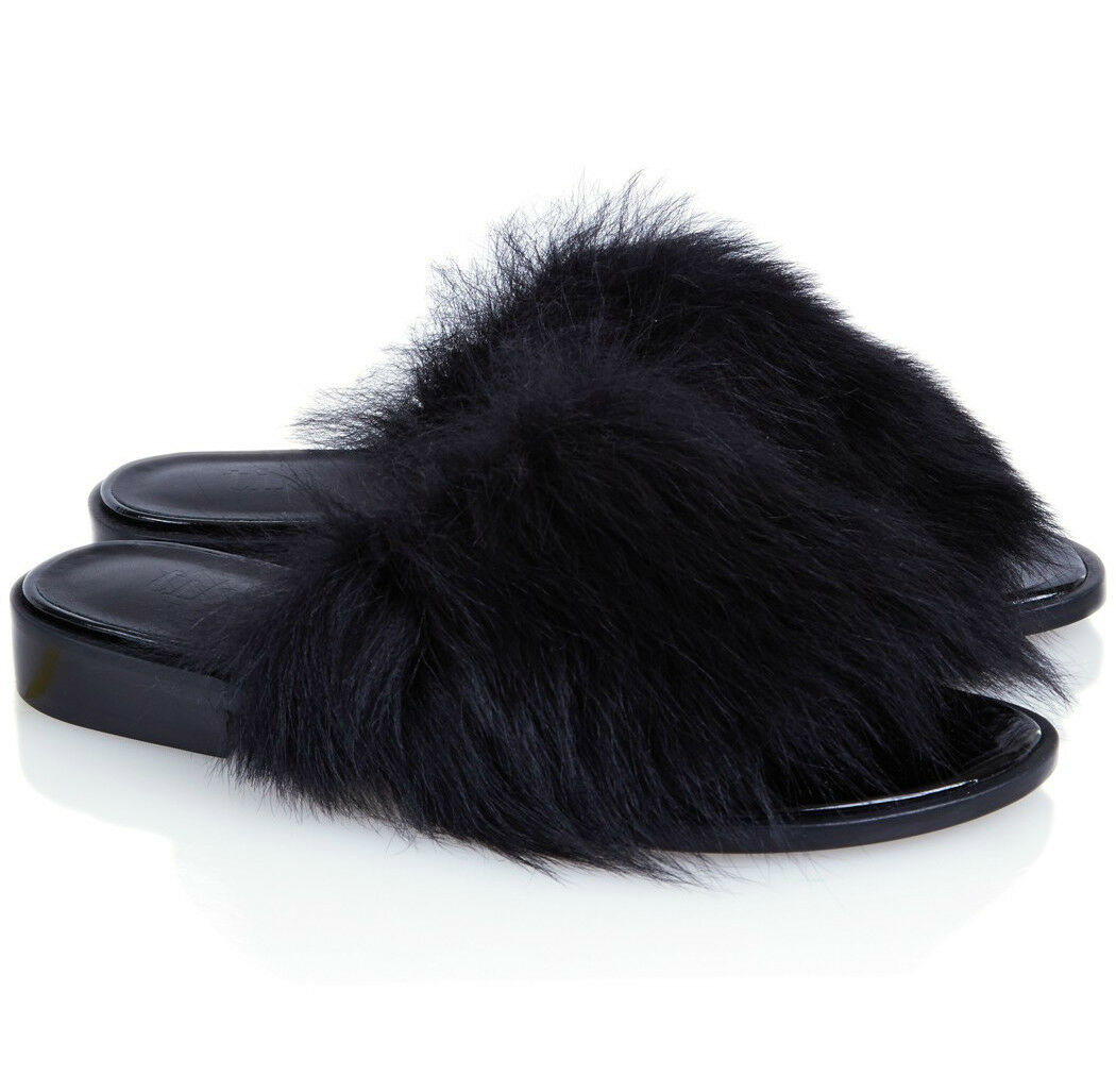 Tibi Kellen Leather & Lamb Shearling Fur Slides Sandals Mules Size 37 7
