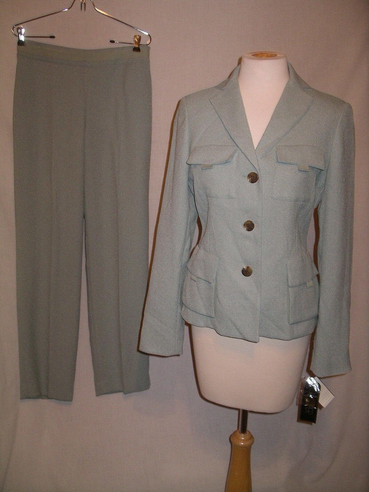 KASPER Lt Seafoam Green Summer Career Pant Suit - 4 - NWT