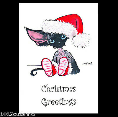 Devon Rex cat kitten art Christmas Cards pack of 6 glittery by Suzanne Le Good.