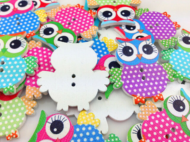 HOT! 10-100pcs MIX Owl Pattern Wooden Buttons Fit Sewing and Scrapbook 35.00mm