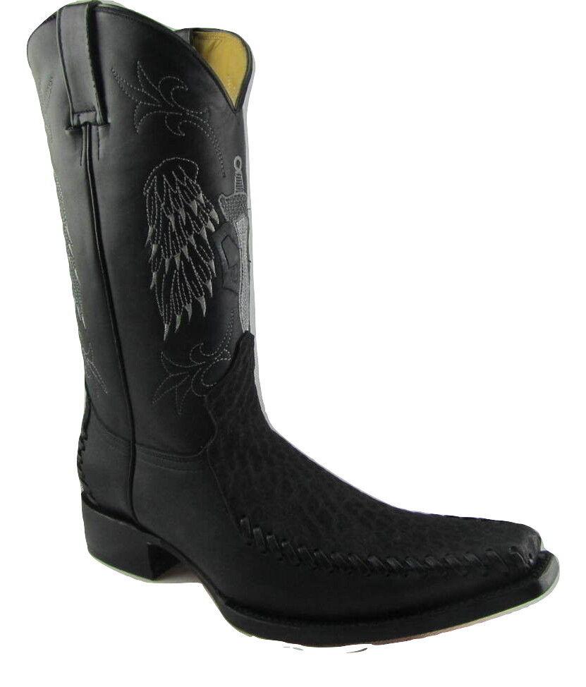 Grinders Kansas Cowboy Western Black Leather Boots Knee High Boot West Biker