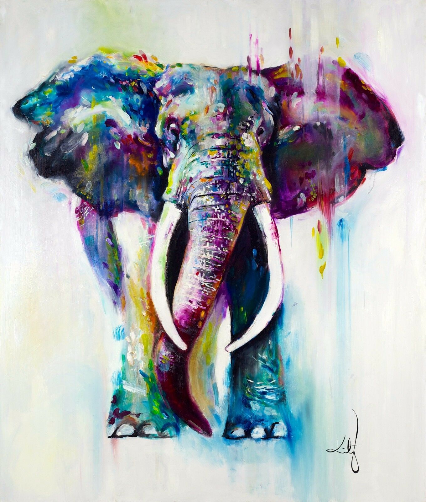 Watercolour Elephant Painting Quality 100% cotton Canvas wall home decor canvas