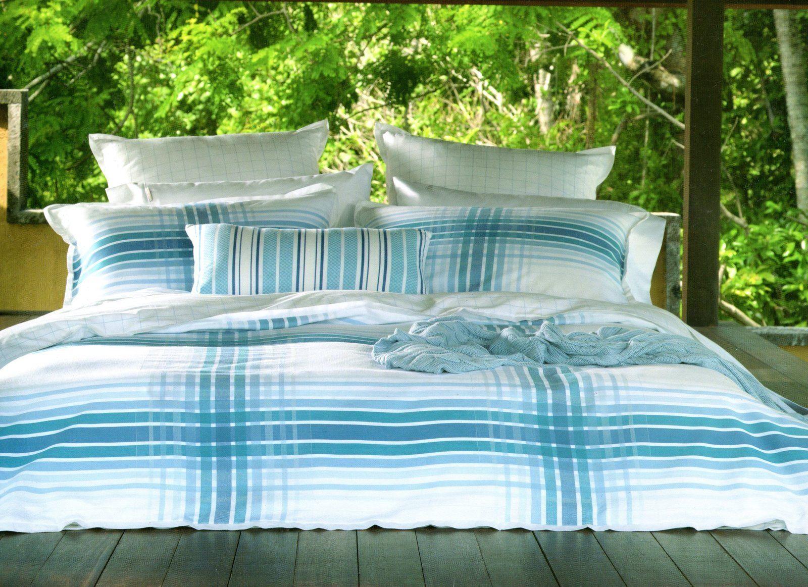 Linen House Shoreham bluee Stripe Queen Quilt Cover Set