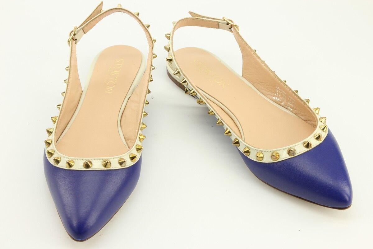 300 NEW Stokton Blau 38 Leder Flat Sandales sz 38 Blau / 7 Made in  800291341807 300185