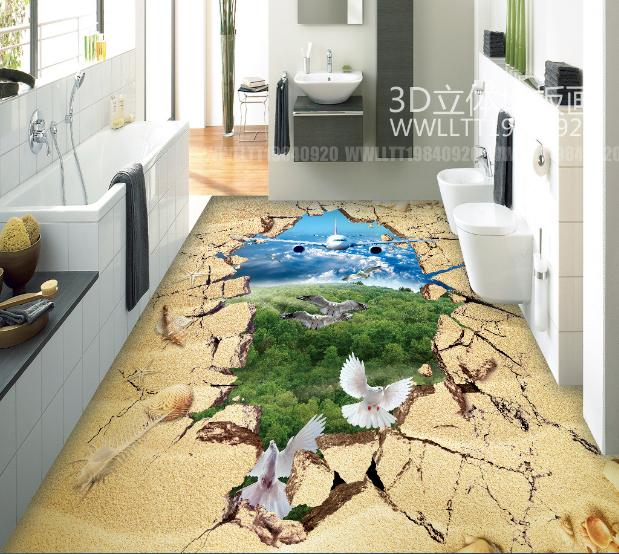 3D Bird Airplane Forest 8 Floor WallPaper Murals Wall Print Decal AJ WALLPAPER