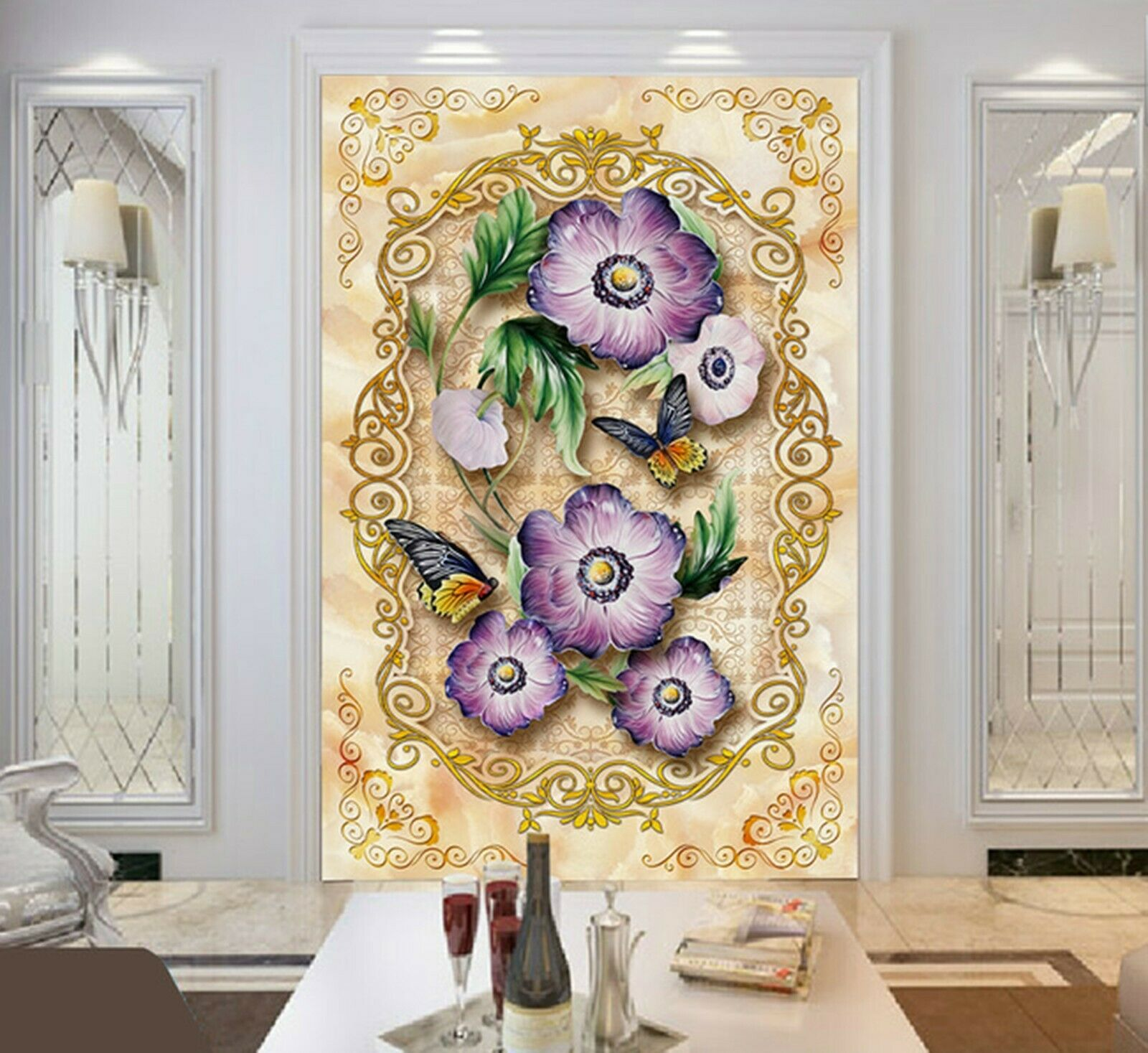 3D lila Flowers I331 Wallpaper Mural Sefl-adhesive Removable Sticker Kid Wendy