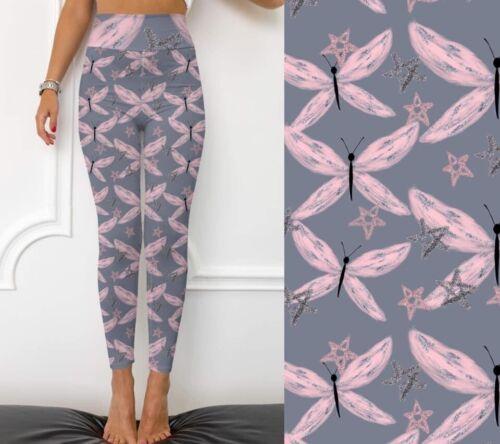PAPILLON LIBELLULE rose /& gris legging femme taille plus TC 12-20