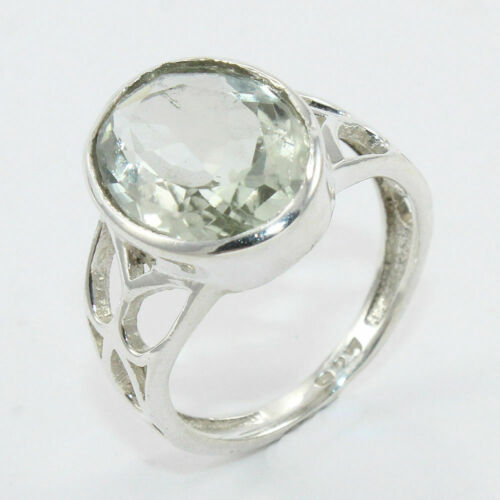 Size Q Facted Green Amethyst Gemstone Solid Sterling Silver Ring Beautiful