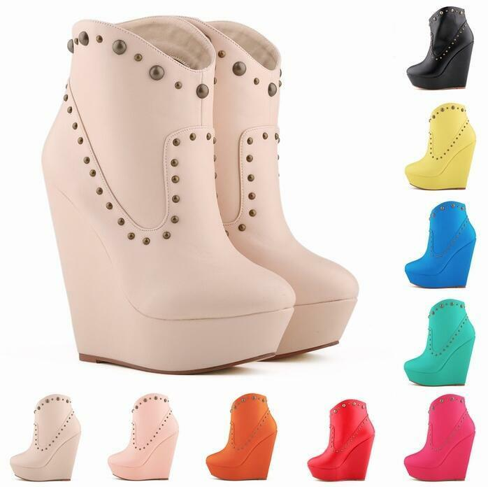 NEU Hohe Keilabsatz Damen Mode Sexy Stiefeltten Schuhe Nieten Nachtclub Stiefel  | Merkwürdige Form