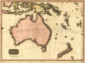 MAP-ANTIQUE-PINKERTON-1818-AUSTRALASIA-OLD-LARGE-REPLICA-POSTER-PRINT-PAM1169