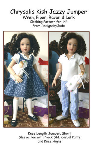 "Jazzy Jumper Doll Clothes Sewing Pattern 14/"" Kish Wren Piper /& Lark Raven"