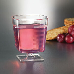8 oz SQUARE PLASTIC CLEAR WINE GLASSES GOBLETS BEER CUPS 180CT BAR ...