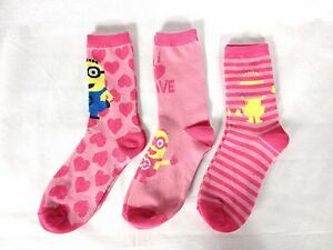 Officiel-meprisable-me-chaussettes-pack-de-3-melange-filles-uk-4-8-junior-minion-D333-26