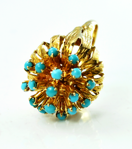 14kyg Turquoise Dot Cluster Floral Flower Domed Firework Ring 18mm Size 8