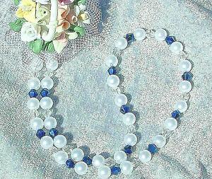 Kette-weiss-metallic-Perlen-blau-Spiegel-Bicone-Braut-Hochzeit-Abendkleid