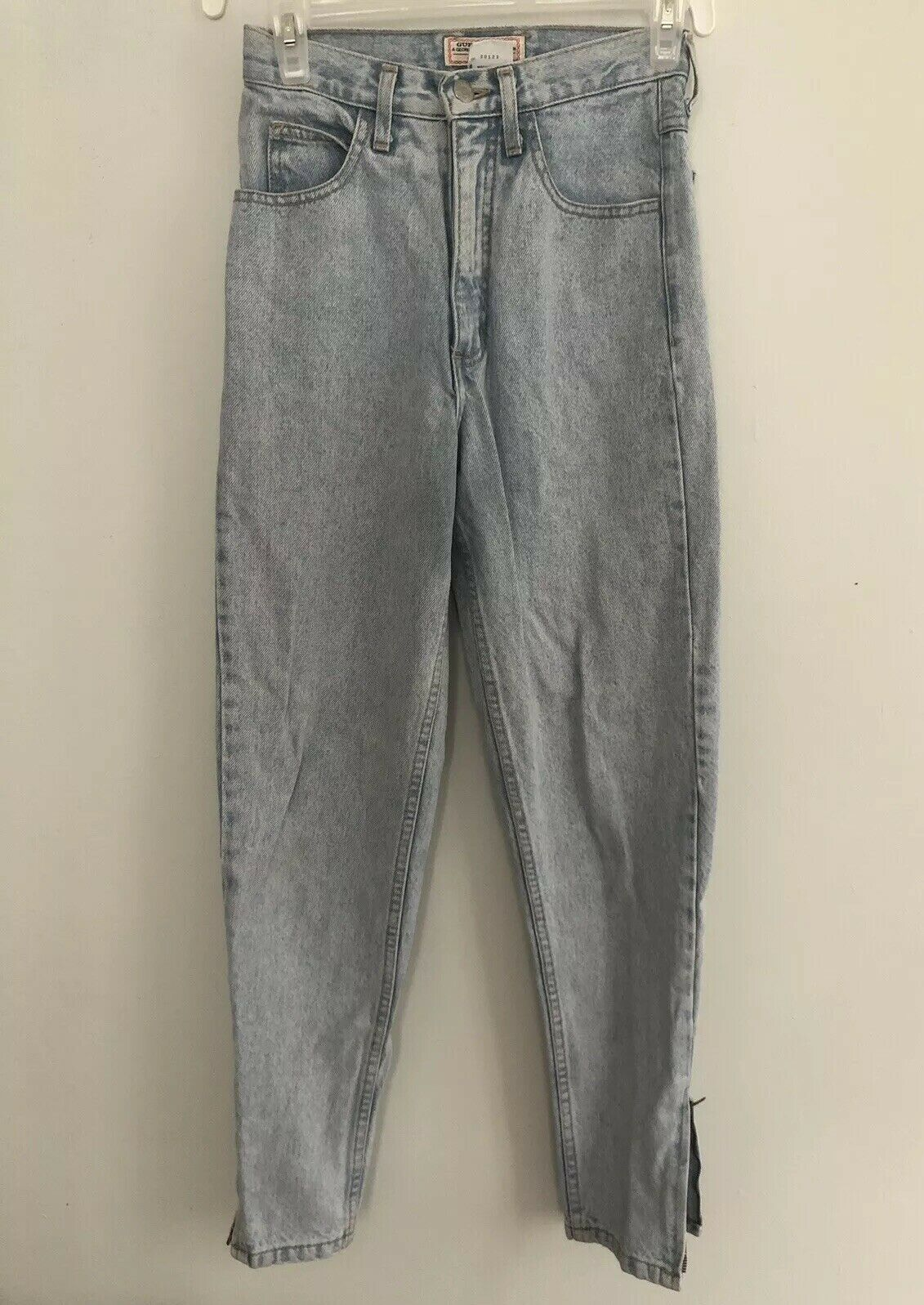 Vintage 80s Guess Jeans Mom Tapered Zipper Ankle High Waist Light Wash Stonewash