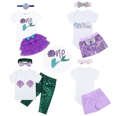 Toddler Kid Baby Girl Infant Mermaid T shirt+Pants+Headband Outfit Clothes Set