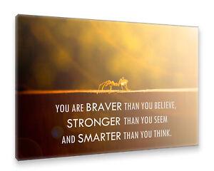 Postereck-Leinwand-1025-Motivation-Spruch-braver-stronger-smarter-Spinne-Text