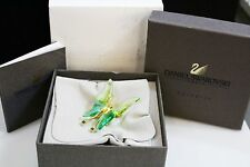 DANIEL SWAROVSKI Golden STERLING Green Crystal Butterfly Brooch  RETIRED NWB