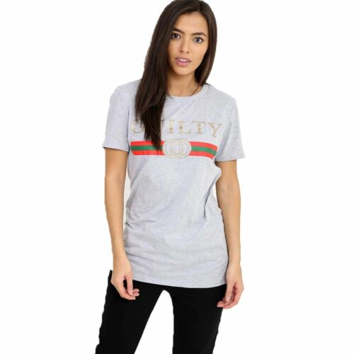 Femmes Plus Size Celeb Inspiration Designer coupable Slogan Imprimé T-Shirt Homme Décontracté à