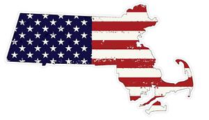Massachusetts State J22 USA Flag Distressed Vinyl Decal Sticker Car//Truck