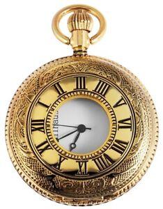 Taschenuhr-mit-Deckel-Quarz-analog-Uhr-Sprungdeckel-Halbsavonnette-Kette-antik