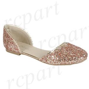 New-women-039-s-shoes-ballerina-ballet-flats-round-glitter-wedding-casual-Rose-Gold